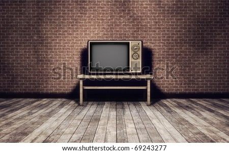 Grunge vintage interior background with old tv
