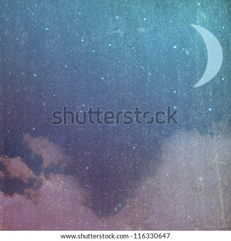 Grunge/vintage night background with moon and clouds
