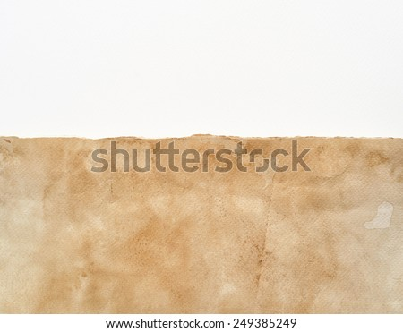 Grunge vintage paper texture and white paper area for copy space.