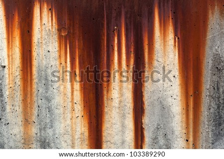 Grunge wall background with sags of rust