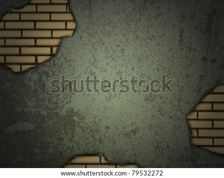 grunge wall with brick holes