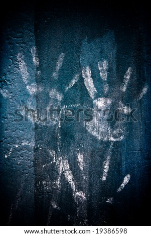 grunge wall with hand prints