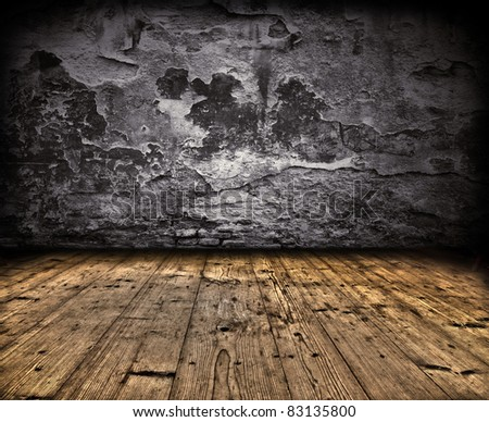 Grunge wall with wooden planks floor