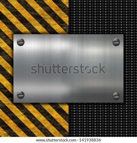grunge warning sign and metal plate