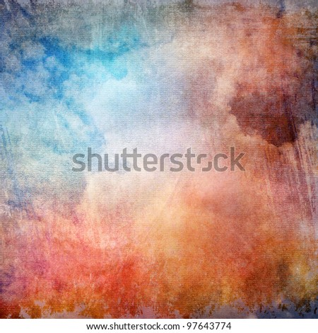 Grunge watercolor texture, blue and red color
