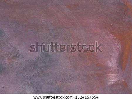 Grunge watercolor textured background. Brushstrokes, blotches, creases. Main colors-rusty, purple, gray, white
