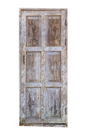 Grunge weathered mossy wooden door on white background