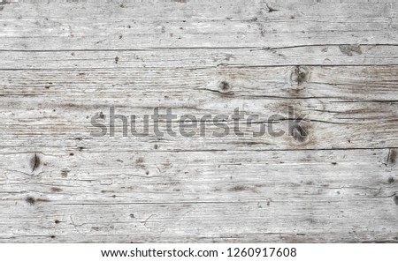Grunge white urban wooden background. Easy to create abstract scratched, vintage effect with dirt and grain. Aging design element for your creative works. #1260917608