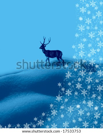 Grunge winter background with fallow deer