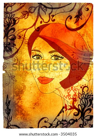 Grunge woman face with red hair