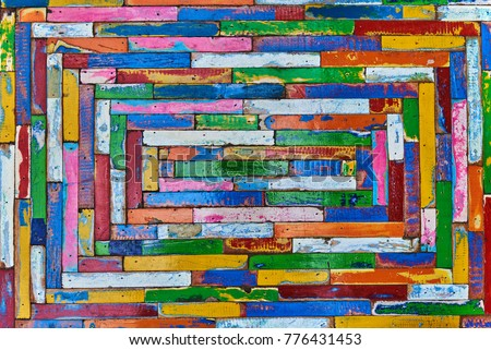 Grunge wood texture background. Decorative mosaic made colorful wooden texture. Wooden interior design multicolored plank background. Square pattern decoration planks. Vintage ornamental element.