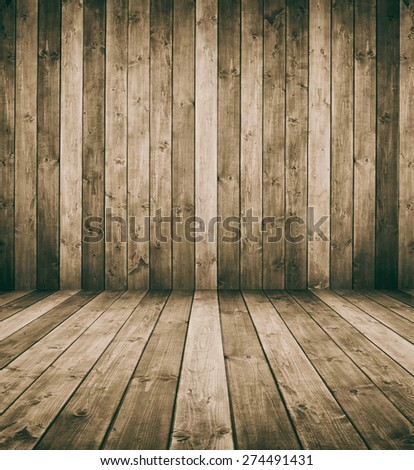 grunge wooden interior room. with space for your text or picture.
