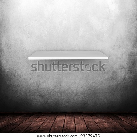 grunge wooden interior with shelf used as background.