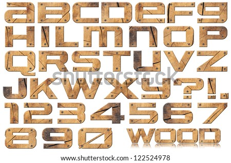 Grunge Wooden Letters and Numbers / Grunge wooden trunk alphabet and numbers with screws on white background
