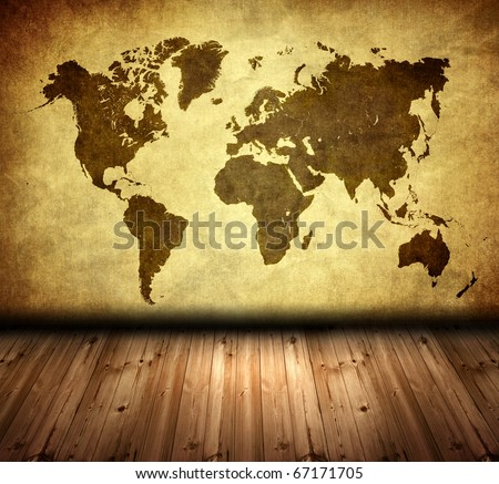grunge world map with oak floor in room style
