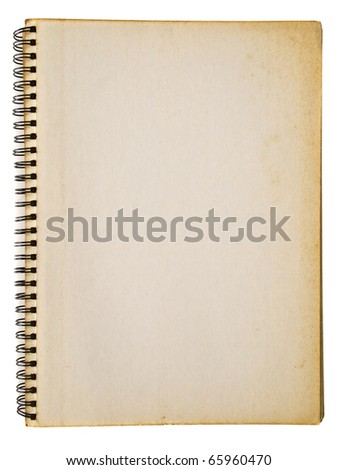 Grunge yellowed spiral notebook isolated on white background