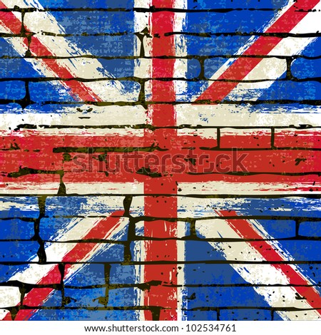Grunged British Union Jack Flag over a brick wall  background  illustration