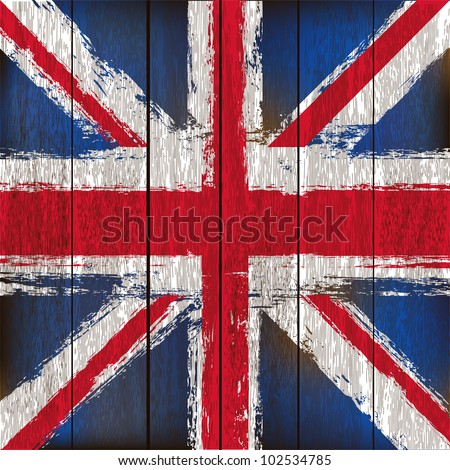 Grunged British Union Jack Flag over a wooden plank  background  illustration