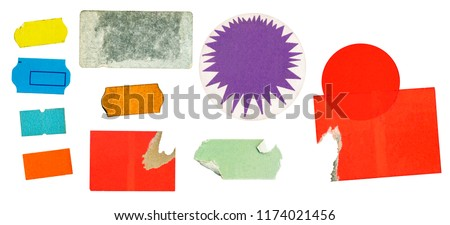 grungy adhesive price stickers, price tags, with free copy space, isolated on white background #1174021456