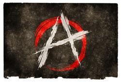 Grungy Anarchy Flag on Vintage Paper