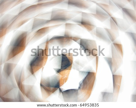 Grungy and grainy abstract background with radial motion blurred geometric elements and shapes (squares, intersecting lines),  visual effect of spinning spiral or vertigo