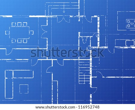 Grungy architectural blueprint illustration on blue background