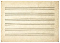 grungy blank paper sheet for musical notes isolated on white background