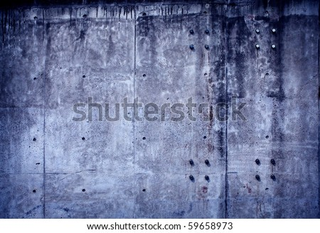 Grungy blue concrete wall