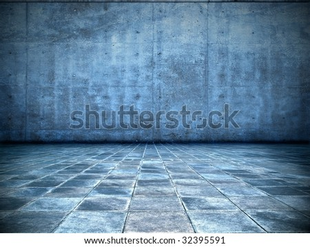 grungy blue room