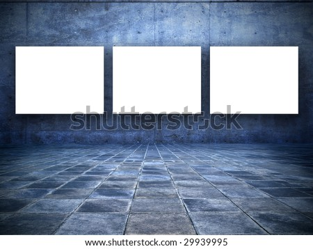 grungy blue room. with three blank white screen board
