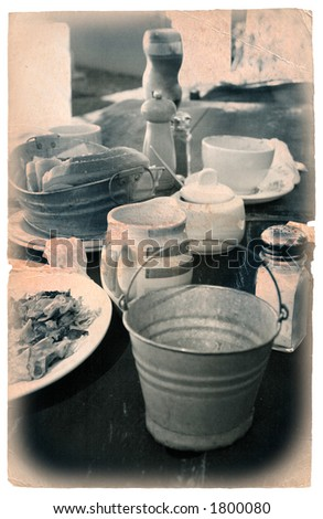 grungy breakfast image with vignette and vintage finish