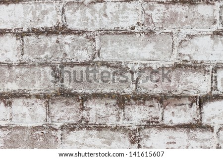 Grungy brick white dirty wall background