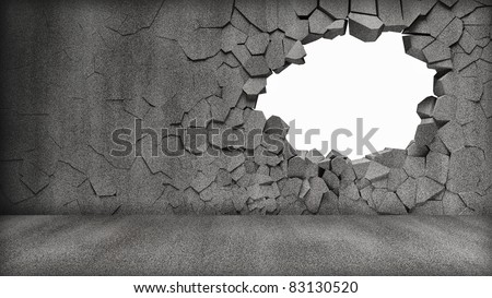 Grungy Broken Concrete Wall