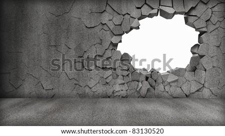 Grungy Broken Concrete Wall Stock photo ©