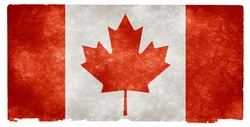 Grungy Canadian Flag On Vintage Paper