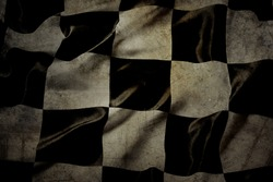Grungy checkered black and white racing flag