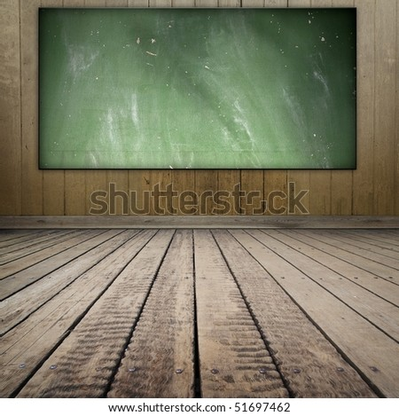 Grungy class room style room with blackboard