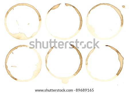 Grungy coffee stains collection. Isolated on white