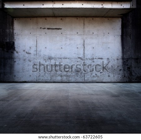 Grungy concrete space with roof