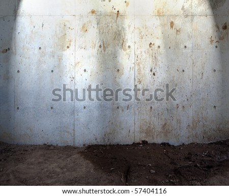 Grungy concrete wall and ground