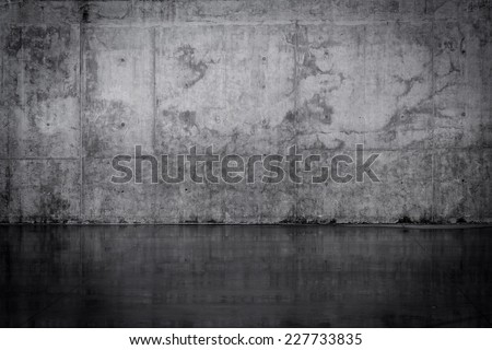 Grungy dark concrete wall and wet floor #227733835