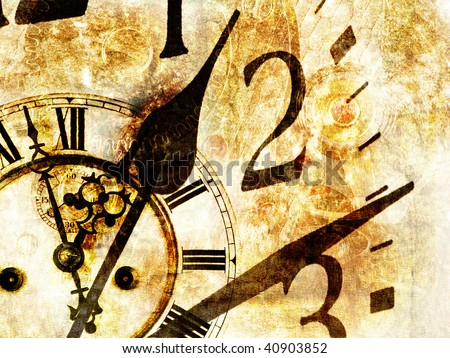 Grungy design with mysterious time and clock composition in warm tone