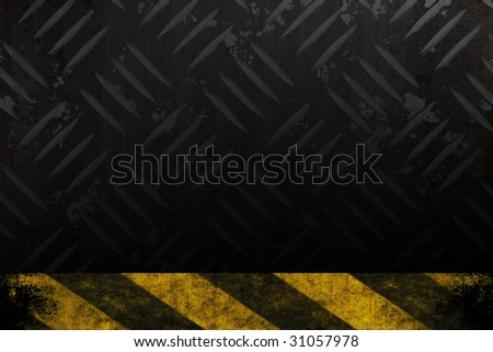 Grungy diamond plate background texture with a yellow and black hazard stripes accent edge.