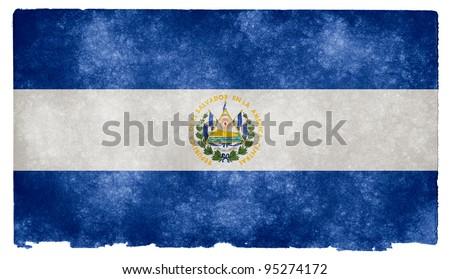 Grungy El Salvador Flag on Vintage Paper