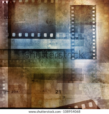 Grungy film negatives overlapping background