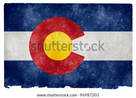 Grungy Flag of Colorado on Vintage Paper