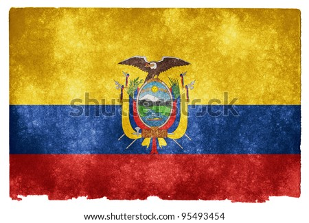 Grungy Flag of Ecuador on Vintage Paper