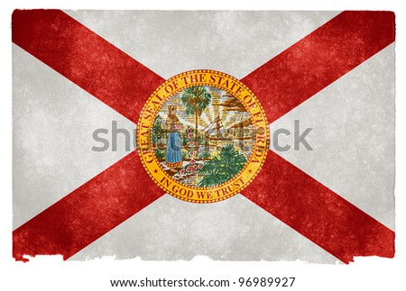 Grungy Flag of Florida on Vintage Paper