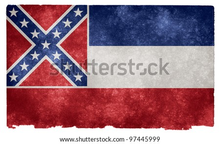 Grungy Flag of Mississippi on Vintage Paper