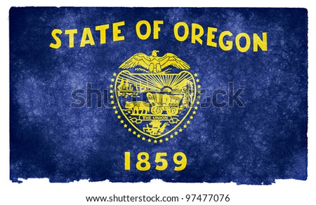 Grungy Flag of Oregon on Vintage Paper
